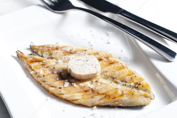 Grillezett makréla vaj tányér kés étel Stock fotó © phbcz
