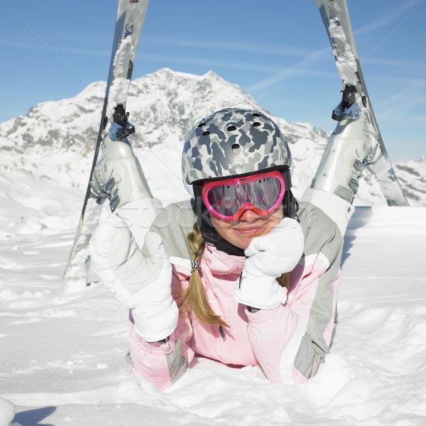 Stockfoto: Vrouw · skiër · alpen · bergen · Frankrijk · sport