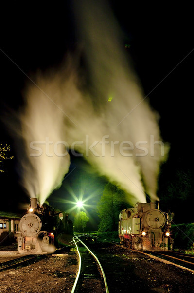 Stoom nacht reizen Europa buitenshuis vervoer Stockfoto © phbcz