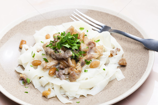 chicken, beef and pork meat with peanuts and rice noodles Stock photo © phbcz