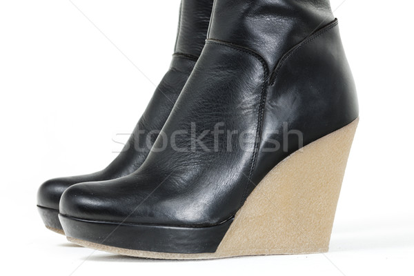 detail of fashionable platform black boots Stock photo © phbcz
