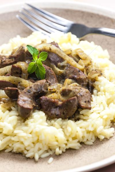 Varkensvlees nier rijst plaat vork kruiden Stockfoto © phbcz
