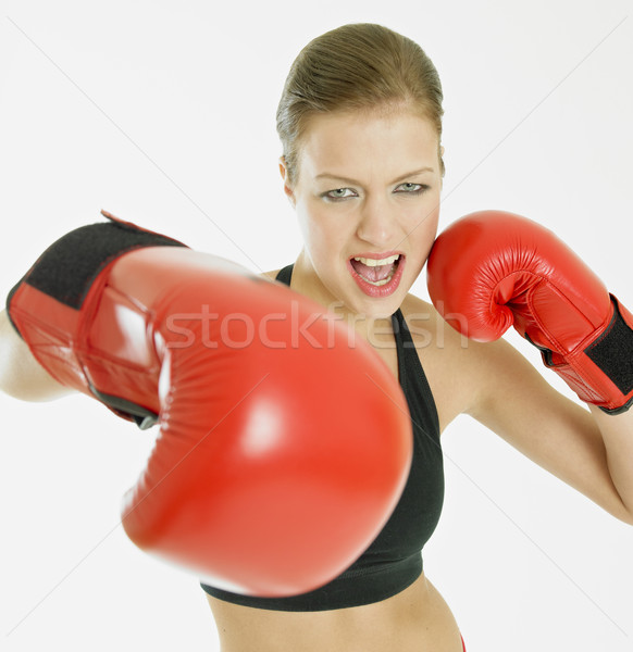 Femme gants de boxe sport exercice jeunes formation Photo stock © phbcz