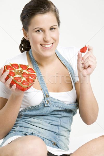 woman with chocolate Stock photo © phbcz
