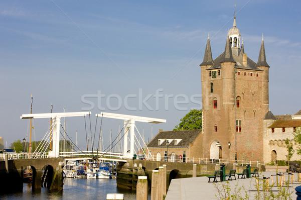 Medieval portão Holanda casa edifício arquitetura Foto stock © phbcz
