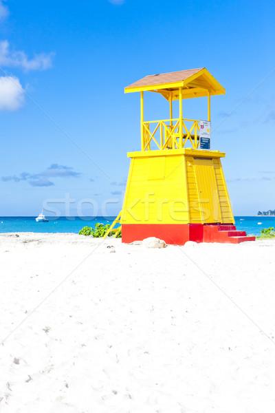 Foto stock: Cabine · praia · empresa · Barbados · caribbean · mar