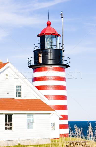 Stock fotó: Nyugat · fej · világítótorony · Maine · USA · épület
