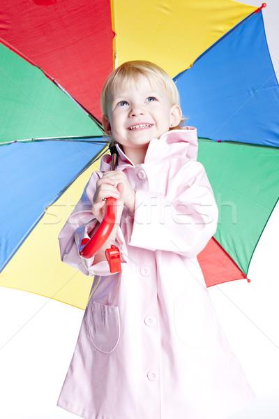 Retrato nina paraguas nina nino rosa Foto stock © phbcz