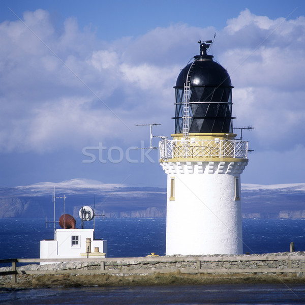 lighthouse, Dunnet Head, Orkney Islands at the background, UK Stock photo © phbcz