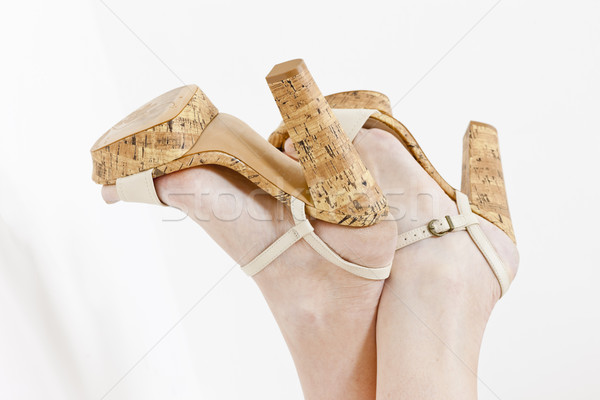 detail of lying woman wearing summer shoes Stock photo © phbcz