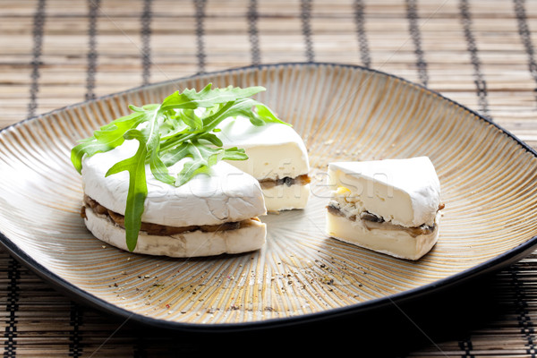 cheese brie filled with roasted mushrooms Stock photo © phbcz