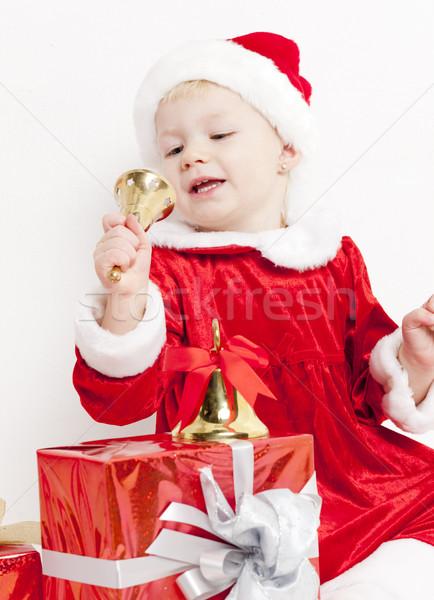 Stockfoto: Meisje · kerstman · christmas · aanwezig · meisje · kinderen