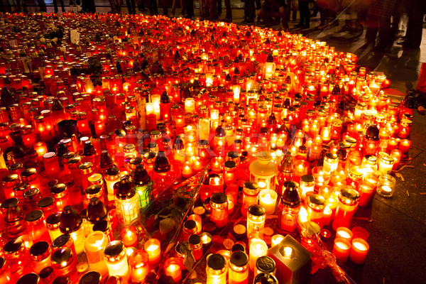 memorial after the death of Vaclav Havel at Saint Wenceslaw squa Stock photo © phbcz