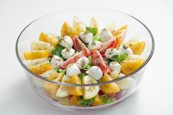 tomato salad with mozzarella cheese Stock photo © phbcz