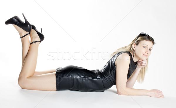 женщину черное платье обувь женщины моде Сток-фото © phbcz