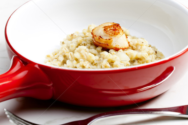 Parel gerst risotto plaat Stockfoto © phbcz