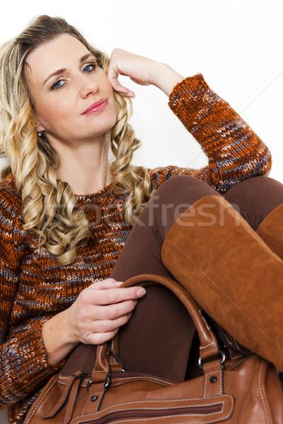 Portré ül nő visel barna ruházat Stock fotó © phbcz