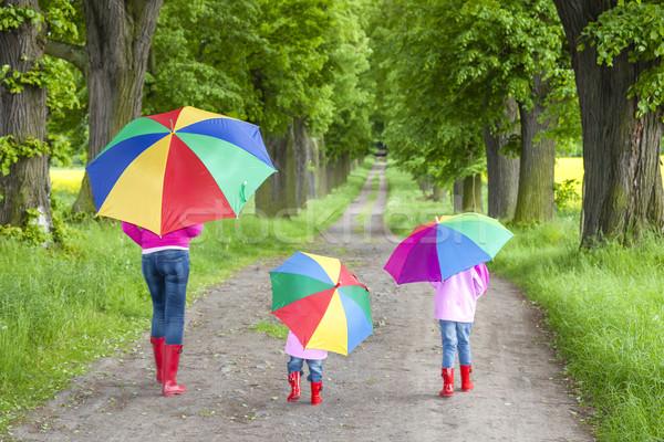 Anya esernyők tavasz sikátor nő gyermek Stock fotó © phbcz