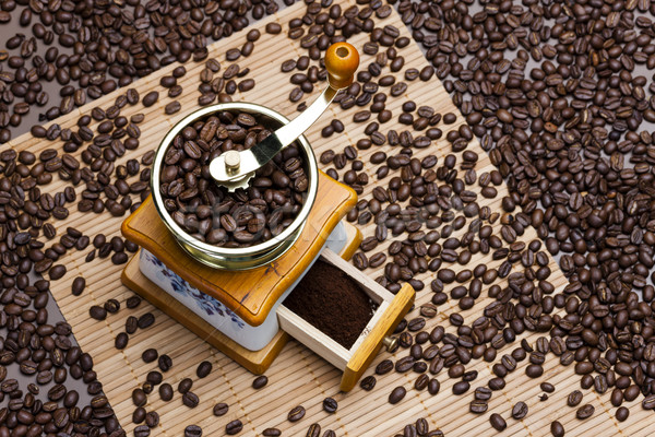 coffee mill with coffee beans Stock photo © phbcz