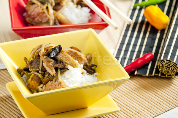 Stock photo: poultry meat with corn and shitake mushrooms