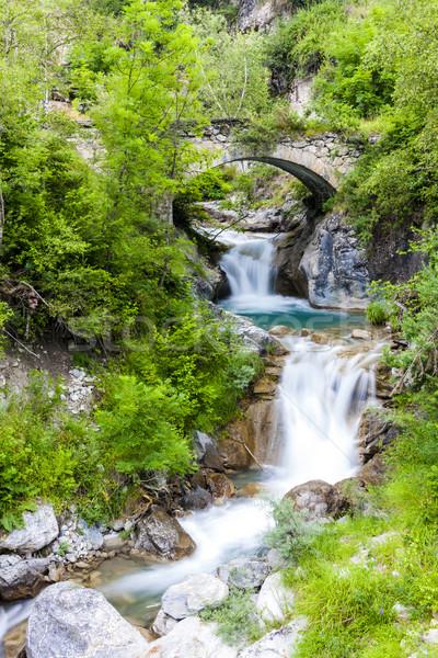 Stok fotoğraf: çağlayan · İtalya · ağaç · köprü · mimari · düşmek