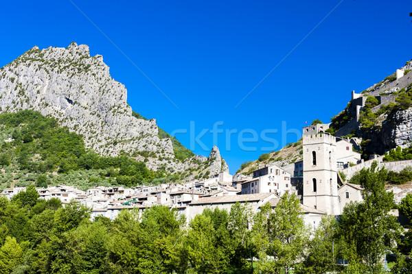 Franciaország ház épület történelem falu kint Stock fotó © phbcz