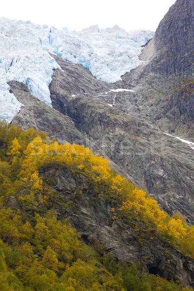 Gleccser park Norvégia hegyek ősz tájképek Stock fotó © phbcz