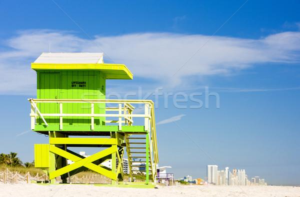 Cabine praia Miami Flórida EUA férias Foto stock © phbcz