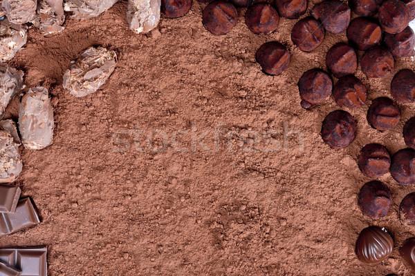chocolate truffles in cocoa Stock photo © phbcz