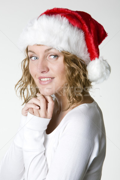 woman's portrait - Santa Claus Stock photo © phbcz