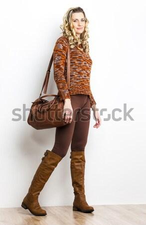 Постоянный женщину латекс одежды женщины Сток-фото © phbcz