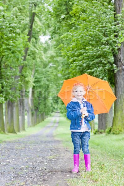 Dziewczynka parasol wiosną aleja dziewczyna dziecko Zdjęcia stock © phbcz