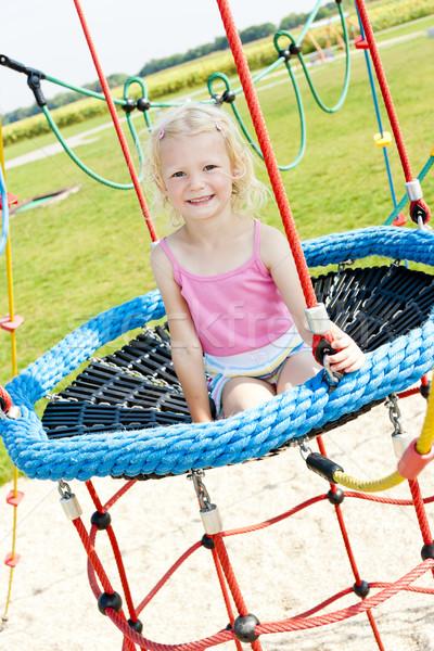 Kislány játszótér lány gyermek nyár pihen Stock fotó © phbcz