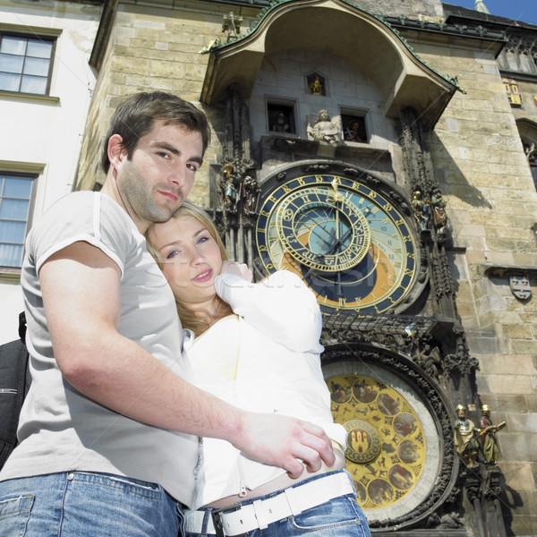 Stockfoto: Paar · Praag · oude · binnenstad · hal · Tsjechische · Republiek · vrouw