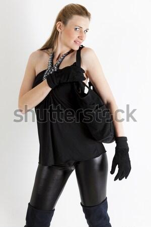 портрет Постоянный женщину черный одежды Сток-фото © phbcz