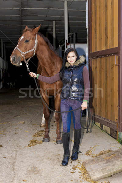 equestrian with her horse in stable Stock photo © phbcz
