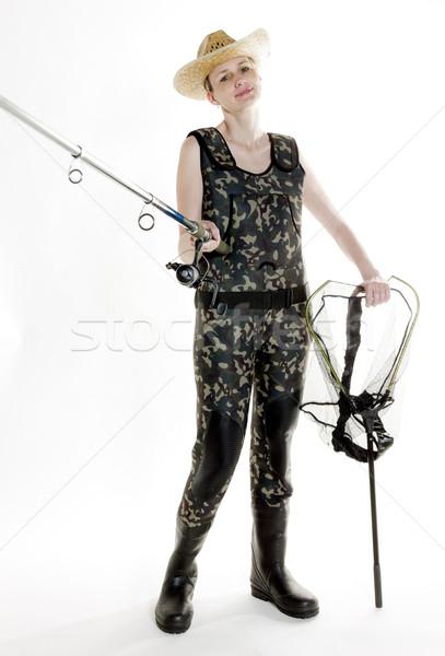 Rybak kobieta wędka netto studio kobiet Zdjęcia stock © phbcz
