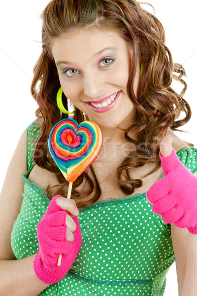 portrait of young woman with a lollypop Stock photo © phbcz