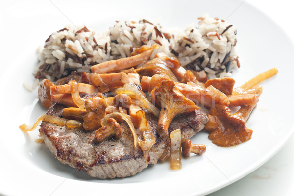 beefsteak with mushrooms and poultry ham Stock photo © phbcz