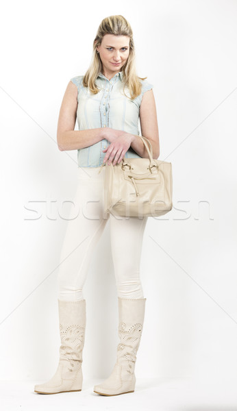 áll nő visel nyár csizma kézitáska Stock fotó © phbcz