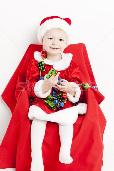 Stockfoto: Meisje · kerstman · christmas · keten · meisje · kinderen
