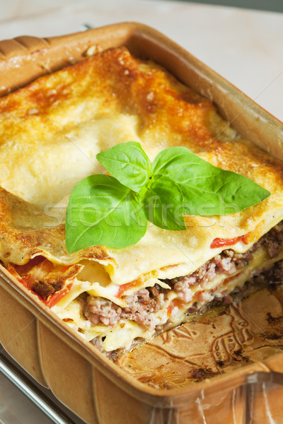 lasagne with minced turkey meat and tomatoes Stock photo © phbcz