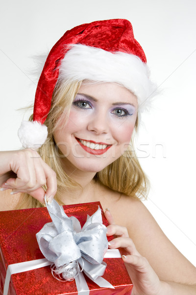 Santa Claus with Christmas present Stock photo © phbcz