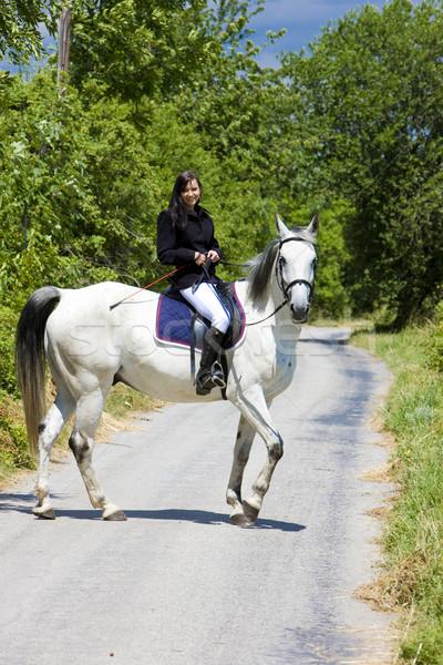 верхом женщину дороги животные молодые Сток-фото © phbcz