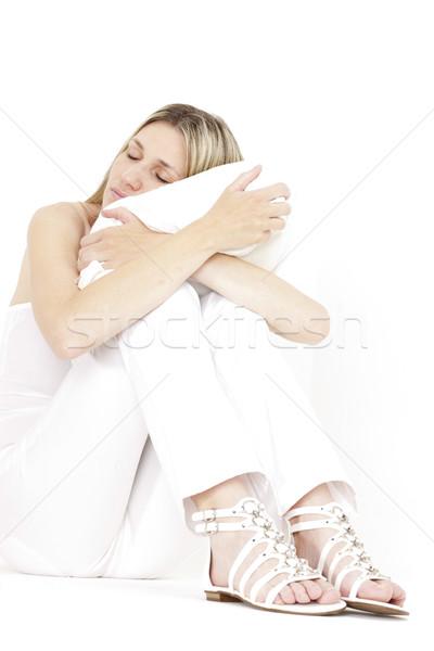расслабляющая сидят женщину белый одежды Сток-фото © phbcz