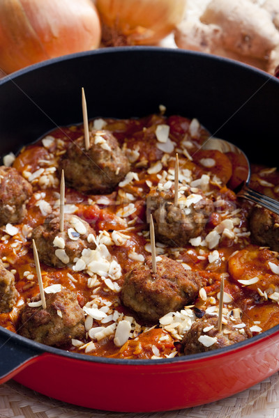 minced meat balls in Moroccan sauce Stock photo © phbcz