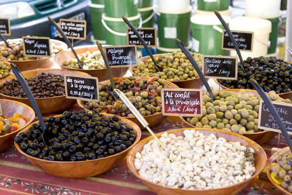 olives, street market in Salles-sur-Verdon, Provence, France Stock photo © phbcz