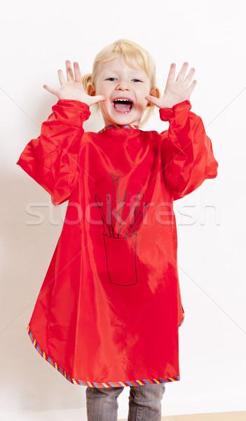 Meisje schilderij schort meisje kind Stockfoto © phbcz