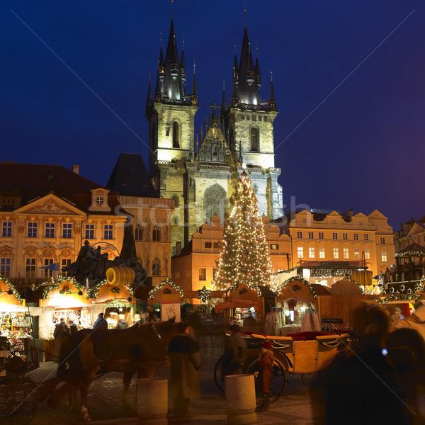 старый город квадратный Рождества время Прага Чешская республика Сток-фото © phbcz