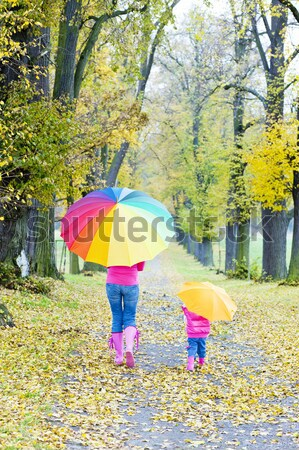 mother with her daughter in autumnal nature Stock photo © phbcz